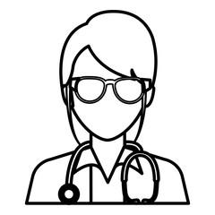 female doctor avatar character vector illustration design