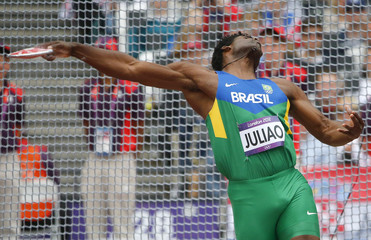 Brazil's Ronald Juliao competes in men's discus qualification at London 2012 Olympic Games