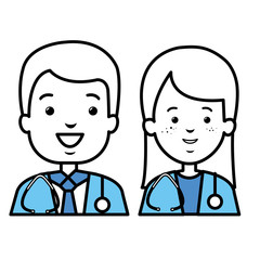 couple doctors avatars characters vector illustration design