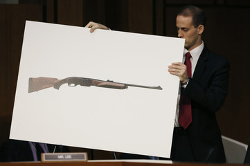 A U.S. Senate aide puts a photo of a hunting rifle in place for viewing during Senate gun control hearing in Washington