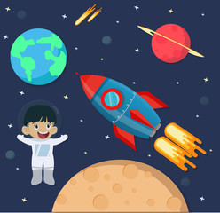 Astronaut kid in space with rocket ship