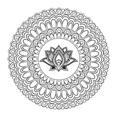 Hand drawn Lotus with mandala. Oriental ornaments for greeting card, invitation, yoga poster, coloring book.