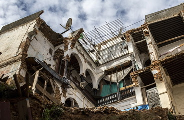 A satellite dish is seen over a moorish house at the old city of Algiers Al Casbah
