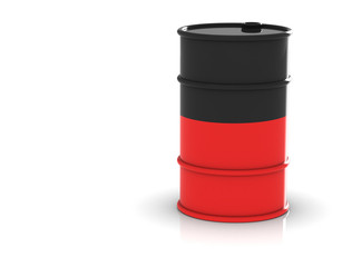 Oil barrels on a white background.3D rendering