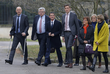 French Prime Minister Manuel Valls arrives to attend a meeting at the Meurthe-et-Moselle Departmental Council in Nancy