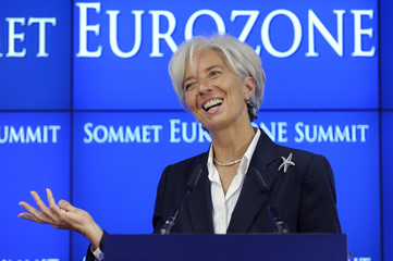 IMF Managing Director Lagarde addresses a news conference at the end of an euro zone leaders crisis summit in Brussels