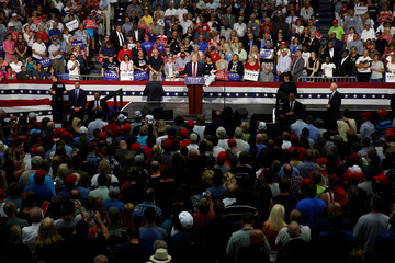 Republican presidential nominee Donald Trump speaks onstage during a campaign rally in Akron