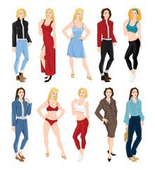 Vector illustration of woman character in different clothes and pose isolated on white background.