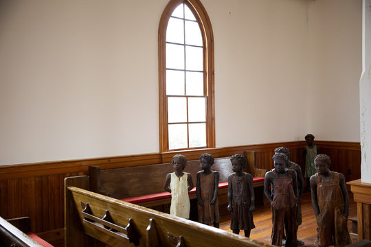 Terra-cotta statues of child slaves at the Whitney Plantation in Wallace Louisiana