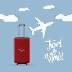 Travel the world poster design vector illustration