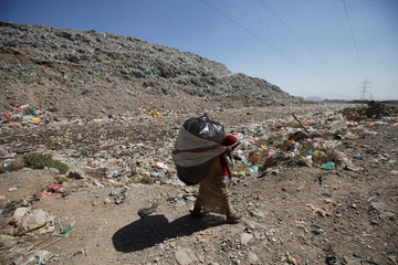 Girl carries the collect recyclable items at a rubbish dump site on the outskirts of Sanaa