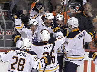 Buffalo Sabres celebrate their win over Philadelphia Flyers after their NHL hockey game in Philadelphia