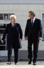 Lithuanian President Grybauskaite talks to her German counterpart Wulff at the presidential Bellevue palace in Berlin