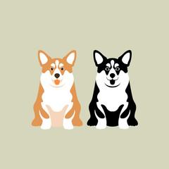 corgi vector illustration style Flat set