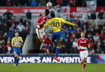 Accrington Stanley's Janoi Donacien in action with Middlesbrough's Fabio