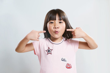 Portrait of little young cute asian  girl  .