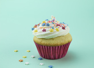 One vanilla cupcake with colour star sprinkles against soft green background