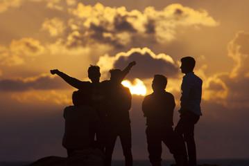 "People watch the sun rise on New Year's Day in ""Gaviota Azul"" beach in Cancun"