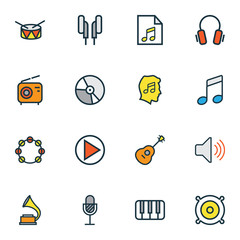 Audio Colorful Outline Icons Set. Collection Of Volume, Loudspeakers, Tambourine And Other Elements. Also Includes Symbols Such As Microphone, Cover, Instrument.