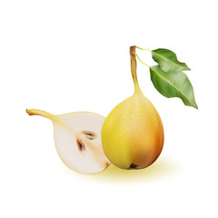 Yellow pear as source of vitamins and minerals to increase energy and combat fatigue and depression. Pear and a half.