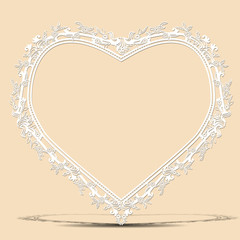 carved vintage frame shape of heart with shadow