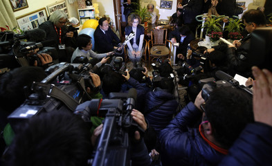 Junko Ishido, mother of Kenji Goto, who is a Japanese journalist being held captive by Islamic State militants, speaks to reporters at her house in Tokyo