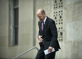 Scott Thomas, former FEC Commissioner, leaves the federal courthouse in Greensboro, N.C.