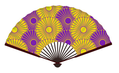 Ancient Traditional Japanese fan with Japanese Flower Pattern, Noble And Luxurious