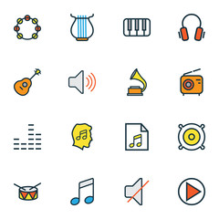 Music Colorful Outline Icons Set. Collection Of Mixer, Set, Lover And Other Elements. Also Includes Symbols Such As Harp, Barrel, Loudspeakers.