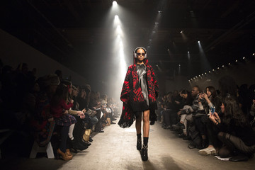 A model presents a creation from the Tracy Reese Fall/Winter 2015 collection during New York Fashion Week