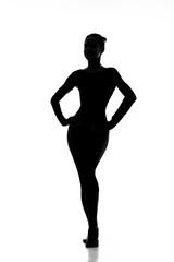 Perfect shape. Silhouette of a beautiful elegant female body hourglass shape