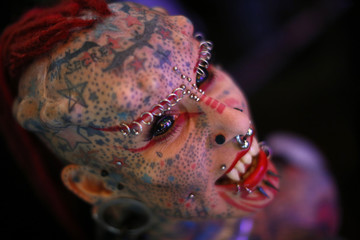 "Mexican body modification and tattoo artist known as ""Vampire Woman"" poses for a picture at Venezuela Expo Tattoo in Caracas"