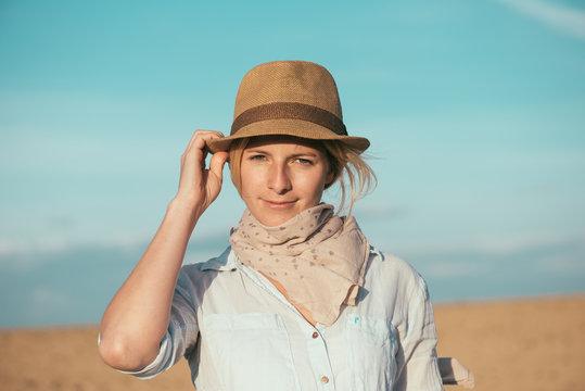 Young traveler woman outdoor