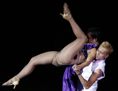 Members of the Colombian dance group Swing Latino, five-time World Salsa champions, perform in Bogota