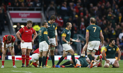 Fourie du Preez of South Africa celebrates his try during their Rugby World Cup Quarter Final match against Wales at Twickenham in London