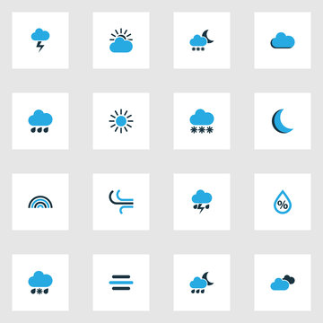 Climate Colorful Icons Set. Collection Of Arc, Blizzard, Cold Weather And Other Elements. Also Includes Symbols Such As Lightning, Breeze, Moonlight.
