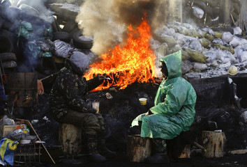 Demonstrators have a chat near a fire at a barricade erected by anti-government protesters near the site of clashes with riot police, with the air temperatures around minus 20 degrees Celsius, in Kiev