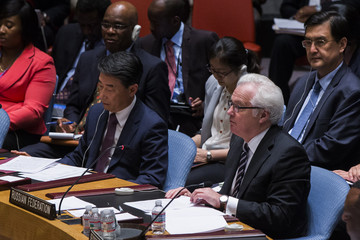Russia's Ambassador to the United Nations Churkin addresses the U.N. Security Council at the U.N. headquarters in New York