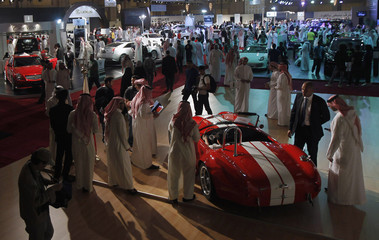 Visitors at the opening ceremony of a Riyadh car exhibition