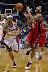 New Jersey Nets guard Harris reacts after he was fouled by Cleveland Cavaliers West in their NBA basketball game in East Rutherford