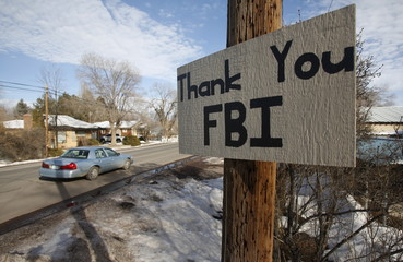 A sign thanking the FBI hangs after an armed standoff ended in Burns Oregon