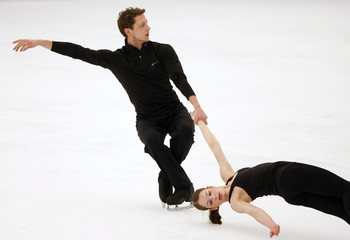 Gierok and Just of Germany perform during the Pairs practice session at the European Figure Skating Championships in Bern