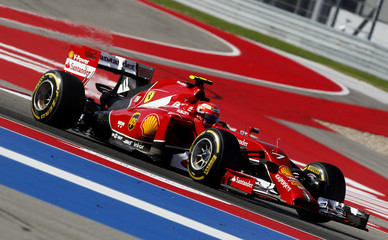 Ferrari Formula One driver Kimi Raikkonen of Finland drives during the third free practice session of the United States Grand Prix in Austin, Texas