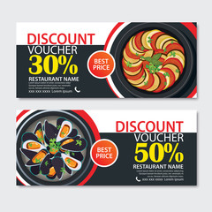 Discount voucher french food template design. Set of ratatouille, musssels