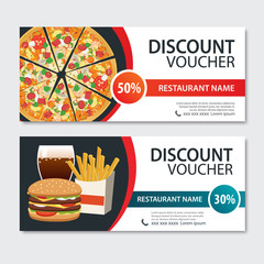 Discount voucher fast food template design. Set of pizza, hamburger, french fries.