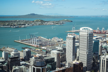 Auckland skyscraper view from the top of Auckland Sky Tower, North Island, New Zealand.