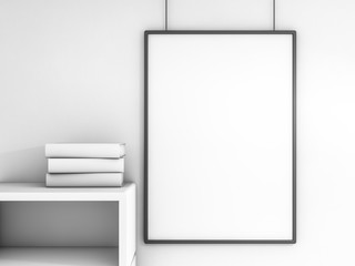 Poster frame mock up template. 3D rendering