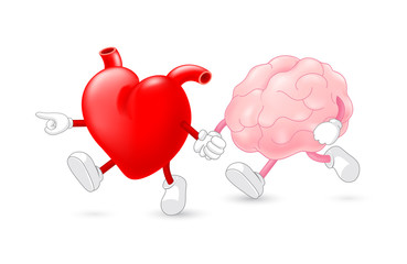 Heart leading brain character. hand in hand and walking together. Emotion over concept. Use brain and heart, vector illustration isolated on white background.