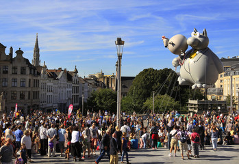 A giant balloon of The Cat floats during the Balloon Day Parade in central Brussels