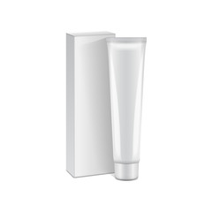 Vector plastic tube with white box for medicine or cosmetics - cream, gel, skin care, toothpaste. Packaging mockup template